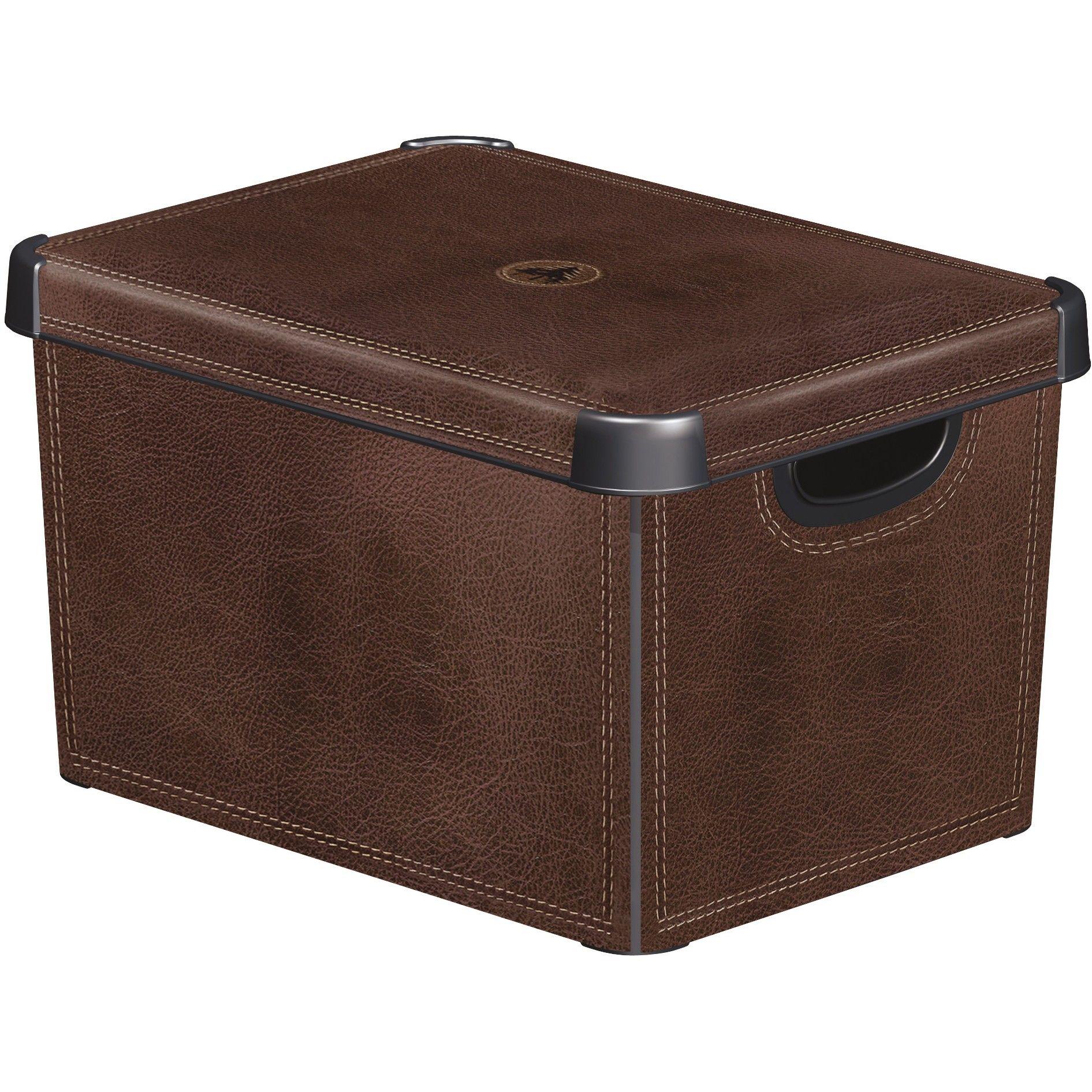 curver decorative stockholm box l polypropylene brown leather 188164 ebay. Black Bedroom Furniture Sets. Home Design Ideas