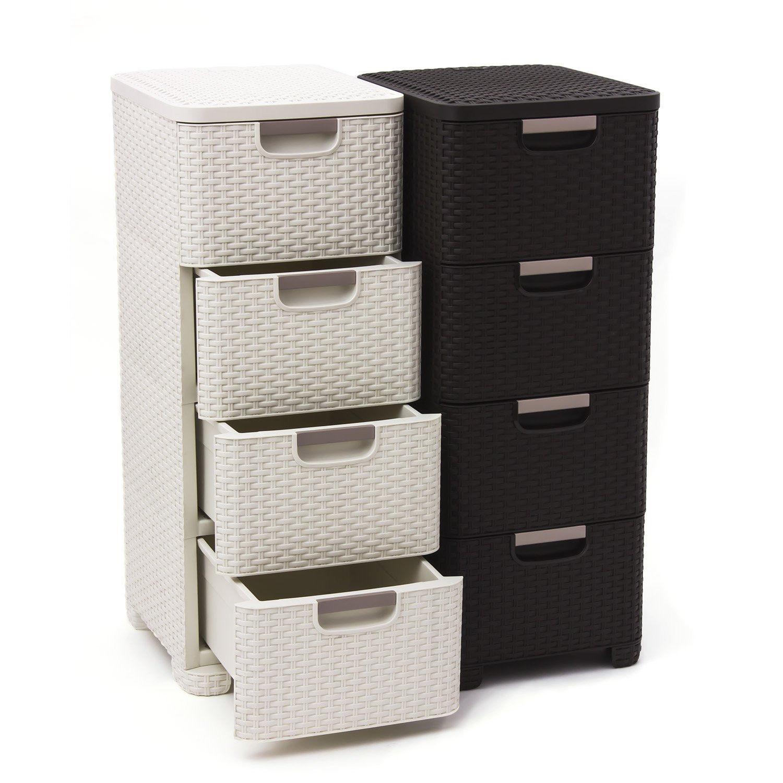 curver regal schubladenregal korbregal kommode dunkelbraun 209906 ebay. Black Bedroom Furniture Sets. Home Design Ideas
