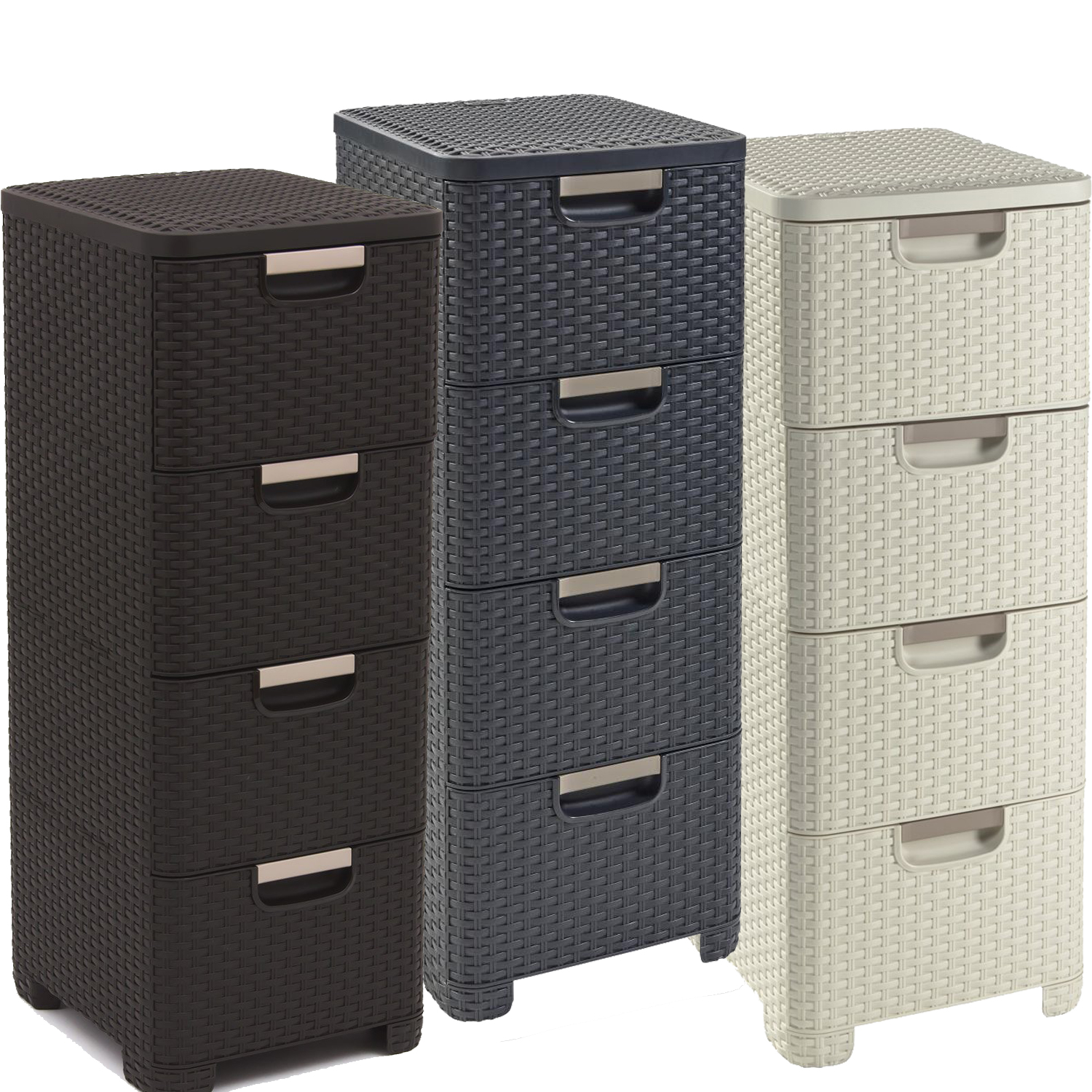 curver regal 4 schubladen schubladenregal korbregal kommode rattan optik. Black Bedroom Furniture Sets. Home Design Ideas