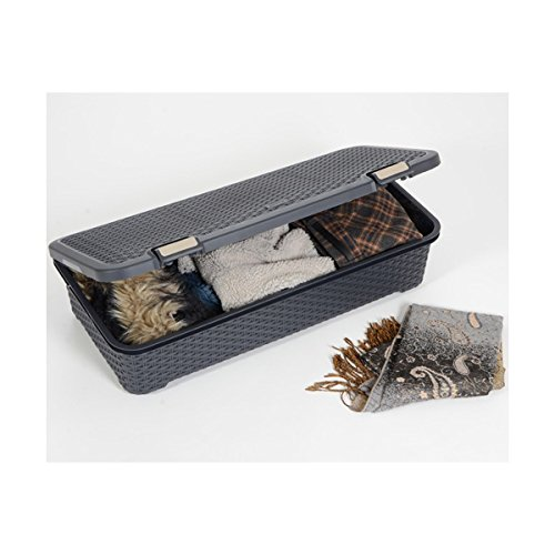 curver storage box wicker appearance with wheels 42 l. Black Bedroom Furniture Sets. Home Design Ideas